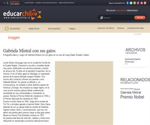 Gabriela Mistral con sus gatos (Educarchile)