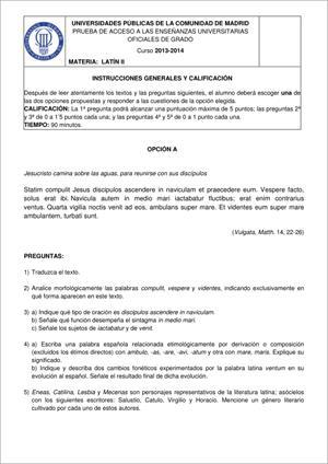 Examen de Selectividad: Latín. Madrid. Convocatoria Junio 2014