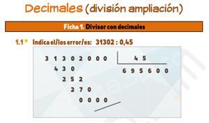 Decimales (división ampliación) - Ficha de ejercicios