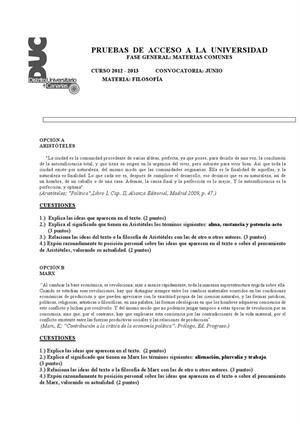 Examen de Selectividad: Historia de la filosofía. Canarias. Convocatoria Junio 2013