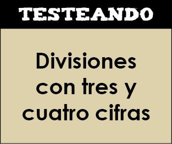 Divisiones con tres y cuatro cifras. 3º Primaria - Matemáticas (Testeando)