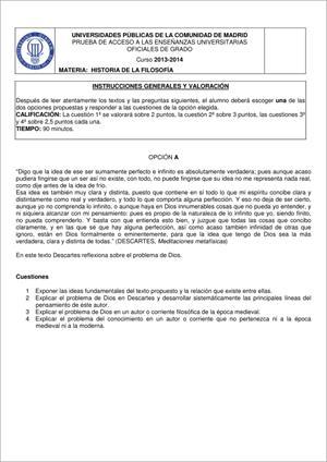 Examen de Selectividad: Historia de la filosofía. Madrid. Convocatoria Junio 2014