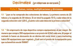 Decimales (problemas avanzado) - Ficha de ejercicios