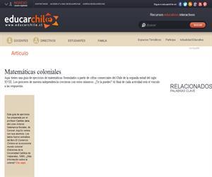 Matemáticas coloniales (Educarchile)