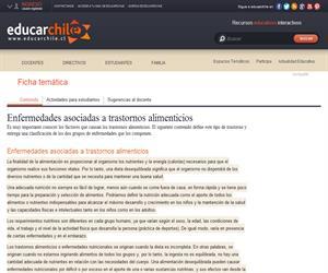 Enfermedades asociadas a trastornos alimenticios (Educarchile)