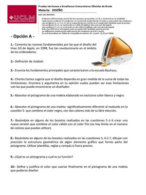 Examen de Selectividad: Diseño. Castilla-La Mancha. Convocatoria Junio 2013