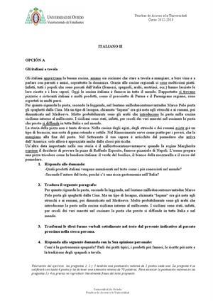 Examen de Selectividad: Italiano. Asturias. Convocatoria Julio 2013