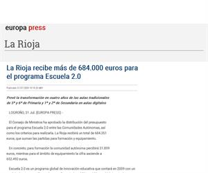 La Rioja recibe más de 684.000 euros para el programa Escuela 2.0. europapress.es