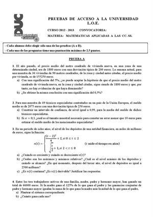 Examen de Selectividad: Matemáticas CCSS. Canarias. Convocatoria Julio 2013