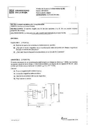 Examen de Selectividad: Electrotecnia. La Rioja. Convocatoria Junio 2014