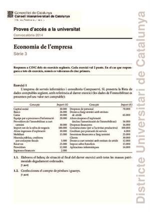 Examen de Selectividad: Economía. Cataluña. Convocatoria Junio 2014