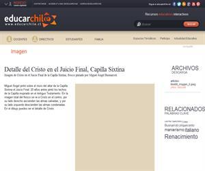 Detalle del Cristo en el Juicio Final, Capilla Sixtina (Educarchile)