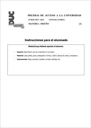 Examen de Selectividad: Diseño. Comunidad Canaria. Convocatoria Junio 2014