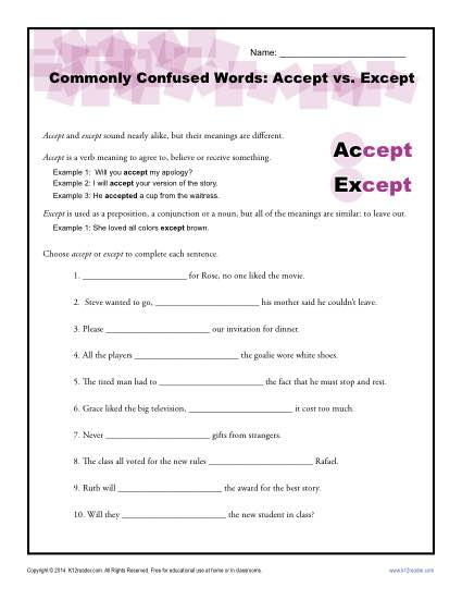 Commonly Confused Words Worksheet: Accept vs. Except