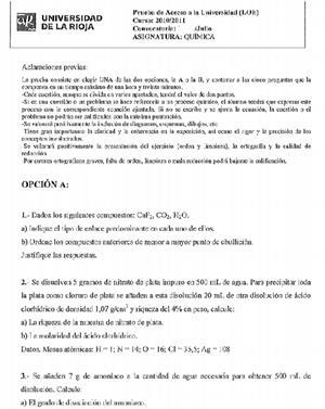Examen selectividad: Química