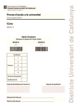 Examen de Selectividad: Griego. Cataluña. Convocatoria Junio 2014
