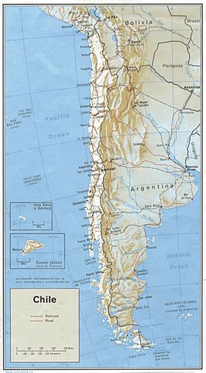 Mapa con relieve de chile (lib.utexas.edu)