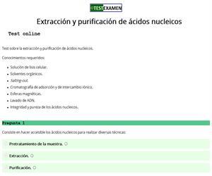 Test sobre la extracción y purificación de ácidos nucleicos