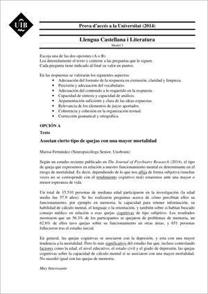 Examen de Selectividad: Lengua castellana y su literatura. Islas Baleares. Convocatoria Junio 2014