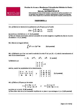 Examen de Selectividad: Matemáticas II. Castilla-La Mancha. Convocatoria Junio 2014