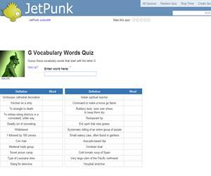 G Vocabulary Words Quiz