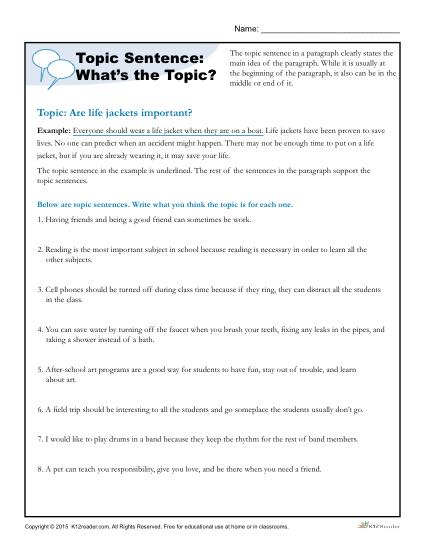 Topic Sentence: What's the Topic?