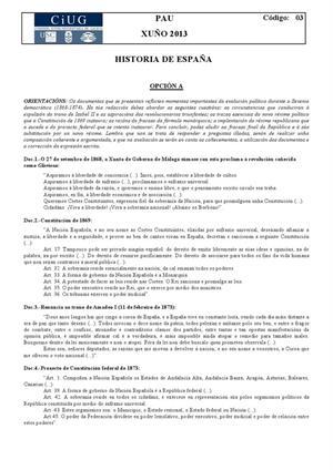 Examen de Selectividad: Historia de España. Galicia. Convocatoria Junio 2013