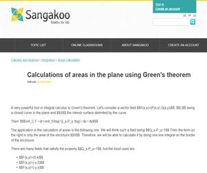 Integrals: Calculations of areas in the plane using Green's theorem