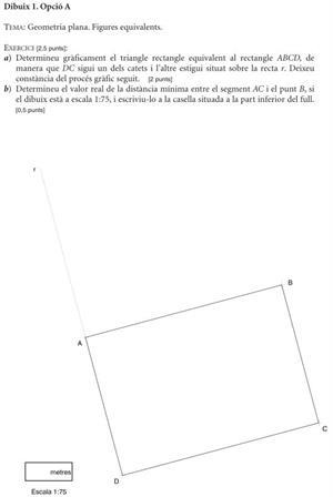 Examen de Selectividad: Dibujo Técnico. Cataluña. Convocatoria Junio 2012