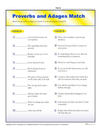 Proverbs and Adages Match