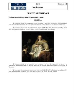 Examen de Selectividad: Dibujo artístico. Galicia. Convocatoria Junio 2013