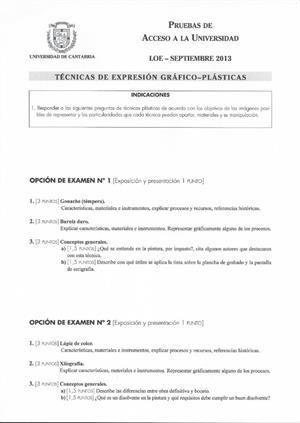 Examen de Selectividad: Técnicas de expresión grafo-plástica. Cantabria. Convocatoria Septiembre 2013