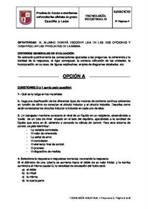 Examen de Selectividad: Tecnología industrial. Castilla y León. Convocatoria Junio 2014