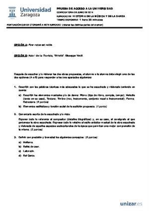 Examen de Selectividad: Historia de la música y la danza. Aragón. Convocatoria Junio 2014
