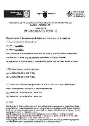 Examen de Selectividad: Historia del arte. Murcia. Convocatoria Junio 2013