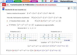 Resolución de ecuaciones. Factorización de  polinomios. Matemáticas para 4º de Secundaria