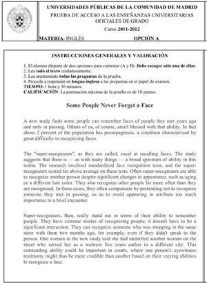 Examen de Selectividad: Inglés. Comunidad de Madrid. Convocatoria Junio 2012