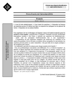 Examen de Selectividad: Francés. Islas Baleares. Convocatoria Junio 2013