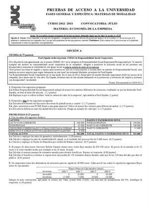 Examen de Selectividad: Economía. Canarias. Convocatoria Julio 2013