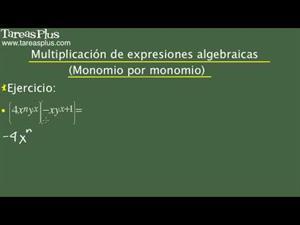 Multiplicación de monomios por monomios y polinomios. Problema 5 de 15 (Tareas Plus)