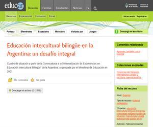 Educación intercultural bilingüe en la Argentina: un desafío integral