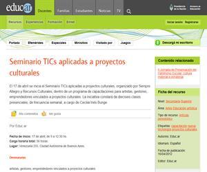 Seminario TICs aplicadas a proyectos culturales