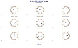 Generador de ejercicios para aprender la hora y el reloj.