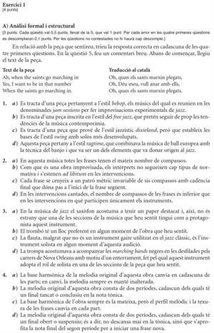 Examen de Selectividad: Análisis Musical. Cataluña. Convocatoria Junio 2012