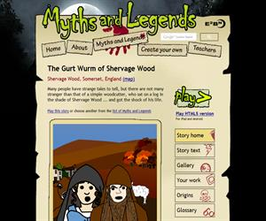 The Gurt Wurm of Shervage Wood, un cuento en inglés ((myths.e2bn.org)