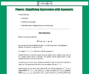 Resolved Exercises of Powers (Exponents)