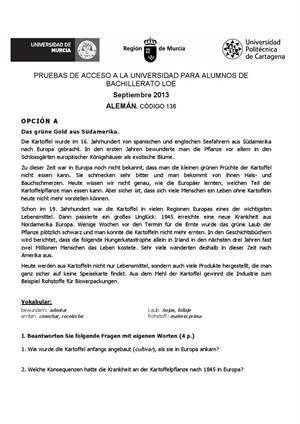 Examen de Selectividad: Alemán. Murcia. Convocatoria Septiembre 2013