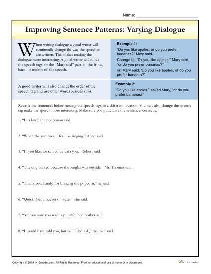Sentence Patterns: Varying Dialogue