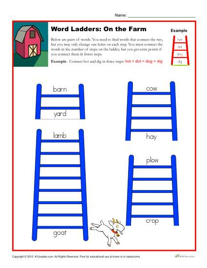 Word Ladders: On the Farm
