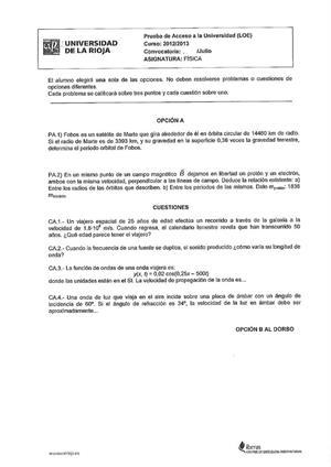 Examen de Selectividad: Física. La Rioja. Convocatoria Julio 2013